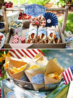 Vintage Americana 4th of July Party by Lisa Frank + Lia Griffith: hot dogs wrapped in brown coffee filters/patterned papers/twine with mini gingham jars of ketchup ||  kraft paper chip bags: tutorial at http://liagriffith.com