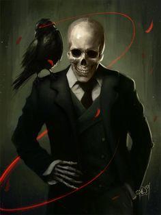 Skully Gentleman Art Print by Amy Wilkins - X-Small Fantasy Character Design, Character Inspiration, Character Art, Dark Fantasy Art, Dark Art, Christus Tattoo, Tableau Pop Art, Skull Artwork, Demon Artwork