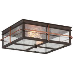 Howell Bronze with Copper Accents Two-Light Outdoor Flush Mount