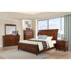 Caramel Brown Classic 6 Piece Queen Bedroom Set - Saratoga