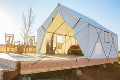 Montana Canvas is using top of the line material to build Glamping Tents. Our grade 'A' polyester/cotton blended fabric not only gives these tent the durability and strength you are looking for but also the sleek-clean-luxurious look. The Luxury Glampin Camping Tent For Sale, Luxury Camping Tents, Luxury Tents, Tent Sale, Camping Glamping, Camping Hacks, Outdoor Camping, Camping Ideas, Camping Storage