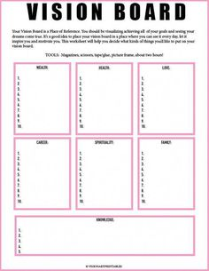 Board Worksheet// Vision Board Checklist// Law of Attraction// Visualization Worksheet// Mind Get Your Personal Walking Plan and Transform Your Body 🔥🔥🔥 PINK Vision Board and Vision Frame Goal Board, Creating A Vision Board, Mental Training, Training Workouts, Visualisation, Goal Planning, Party Planning, Business Plan Template, Self Development