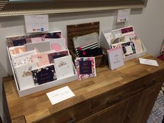Stylish greeting cards on display at the Edie & Rona launch party.