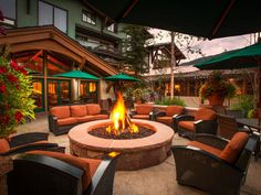 The Lodge at Vail is the very first hotel to grace the iconic Colorado ski town. A recent multi-million dollar renovation included the addition of this fabulous fire pit located steps away from the chalet-themed resort's own gondola.