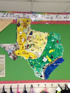 Texas Region Map. Divide the students into four groups. Have them research that regions natural resources, major cities and populations, Native American Indian tribes, vegetation, and much more. When research is complete, give them the section of Texas they studied. Have them decorate accordingly. Connect the four regions and place on bulletin board. I keep it up all year and we refer to it many time throughout the school year. The students learn so much with this engaging and fun activity…