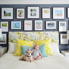 Young House Love - Small matted prints in black frames on grey wall