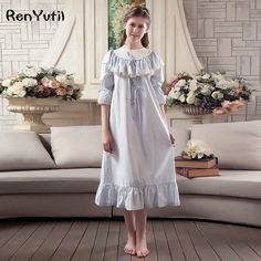 2017 spring palace style sweet princess cotton nightgowns womens vintage nightgown female home clothes long sleep dress White Nightgown, Vintage Nightgown, Style Lolita, Moslem Fashion, Nice Dresses, Prom Dresses, Night Dress For Women, Elegant Outfit, Blouse Styles