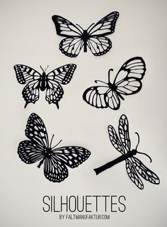 Paper cut butterflies, moths and dragonflies by faltmanufaktur