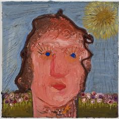 Nicole Eisenman  Lady with Sun  2009  OIl on canvas  12 x 12 inches