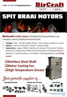 Summertime – The perfect time for a family Spit Braai. Options: Balancing Arm and Cover Contact our Sales Team today for your very own Spit Braai Motor. Mechanical Power, Linear Actuator, Electric Motor, Summertime, Custom Design, Arm, Mini, Cover, Products
