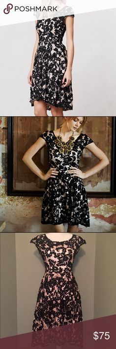 """Anthropologie Yoana Baraschi Jardim  Lace Dress Yoana Baraschi For Anthropologie - Jardim Embroidered Lace Dress. Delicate feminine design. Size zip. Dry clean. Regular: 39""""L. Worn once, very good condition. Retail $298. Reasonable offers considered. Anthropologie Dresses"""