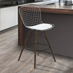 Armen Living LCTABAWH28 Taylor Barstool in White Faux Leather and Chrome Finish
