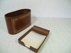 Retro Brown Wood Look with Gold Tooling Desk Set of 2 Pieces - Vintage Library Office Accessories Pair - Letter Bin & Memo Paper Holder Set by DivineOrders
