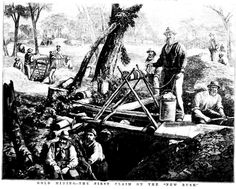 Historic Illustration - Gold Mining - The First Claim on the New Rush 1876 Black And White Illustration, Gold Rush, Historical Pictures, The Past, Australia, History, Painting, Art, Art Background