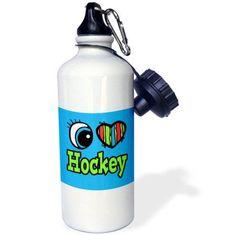 3dRose Bright Eye Heart I Love Hockey, Sports Water Bottle, 21oz