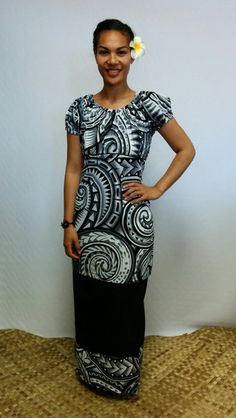 Babywaist style puletasi in black and white tapa print fabric