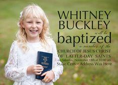LDS Girl Baptism Invitation
