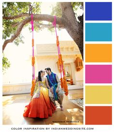 Sunshine yellow, marigold orange, rani pink with royal blue and aqua. Color Inspiration from IndianWeddingSite.com