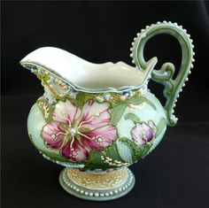 Nippon Hand Painted Creamer with Extensive Moriage