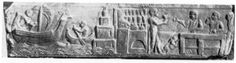Relief with a harbour scene and a bar. From Meiggs 1973, Plate XXVI, b. This relief comes from tomb 90 in the Isola Sacra necropolis. To the left a ship is approaching the lighthouse. It seems to be towed by a small boat. To the right is a bar, visited by the crew after mooring the ship. The left part of the bar is reminiscent of the Caseggiato del Termopolio in Ostia. A dolphin seems to be depicted here, possibly indicating the name of the bar.