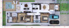 Planta de casa térrea com escritório. Planta para terreno 12x30