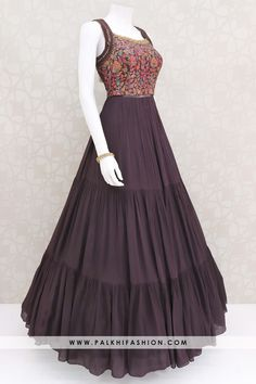 Pure Georgette Dark Wine Indian Designer Gown With Appealing Work - Pure Georgette Dark Wine Indian Designer Gown With Appealing Work Source by - Party Wear Indian Dresses, Indian Gowns Dresses, Indian Fashion Dresses, Dress Indian Style, Indian Designer Outfits, Frock Fashion, Indian Outfits, Fashion Outfits, Designer Anarkali Dresses