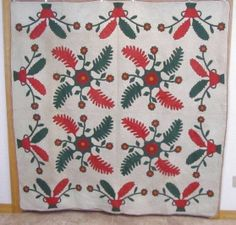"""Early 1860s Princess Feather Urns Applique Quilt Red Green Cheddar Pennsylvania 
