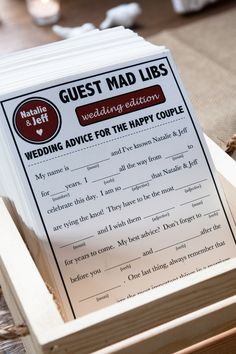 Mad Lib Advice Cards | CYoung Photography | Theknot.com