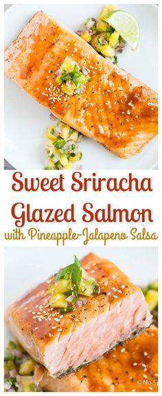 Crispy Pan Seared Salmon with Sweet Sriracha Glaze & Pineapple Salsa