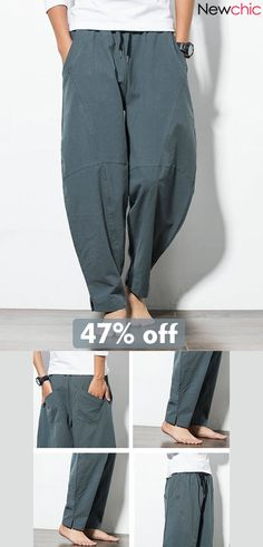 cb9aaab97cea 【Get Discount】Mens Casual Baggy 100% Cotton Harem Pants Solid Color Loose  Wide