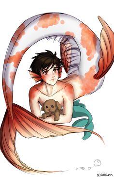 badturquoise on Toyhouse Realistic Mermaid Drawing, Mermaid Drawings, Fantasy Mermaids, Mermaids And Mermen, Fantasy Character Design, Character Art, Anime Merman, Mermaid Boy, Manga Mermaid