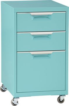 "TPS aqua file cabinet  | CB2  ABBY BR - under clear desk 15.5""Wx19.75""Dx27.25""H  $200"
