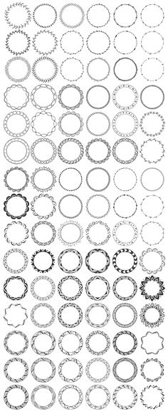 Set of 90 hand drawn decorative round frames with tribal, boho, geometric and floral design elements. - 20 Vector EPS Files with 10 circle frames (black Celtic Patterns, Doodle Patterns, Doodle Frames, Doodle Art, Mandala Drawing, Mandala Tattoo, Design Elements, Design Art, Diy Kalender