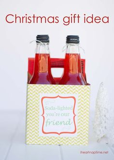 """Soda-lighted"" Christmas gift idea with FREE printable by iheartnaptime.net ...these would make great gifts for neighbors and teachers."