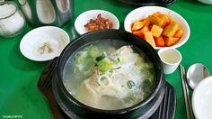 반계탕, bangyetang Samguetang(chicken soup w/ ginseng) /2 = Bangyetang. Haha... Did you get it? Normal samgyetang is quite big size for a person, so half of it is quite light size to enjoy. Yes, there is s small cup on the table. Guess what? 'THE GINSENG ALCOHOL.  Bottoms up !!!                                  ,, ㅂ ㅏ ㄱㅖ ㅌ ㅏ  ^   ^    ㄴ              ㅇ      u  do you like it?