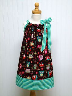 Owl Children Girl Clothing Pillowcase Dress Teal by WendysWhimzies, $25.00