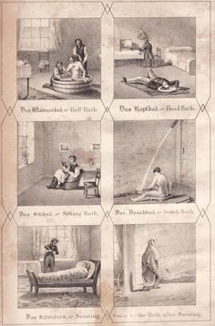Hydropathic applications at Graefenberg, per Claridge's Hydropathy book. This image appeared in all known copies of Claridge's Hydropathy book, and subsequently in some books by others published in the 1800s. It shows the main applications of hydropathy (now known as hydrotherapy) at the establishment of Vincent Priessnitz, in Graefenberg, Silesia.