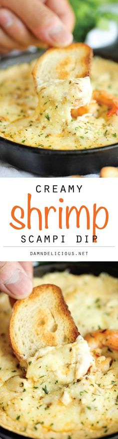 Scampi Dip Shrimp Scampi Dip - One of the best (and easiest) dips I've ever had, baked to absolute creamy, cheesy perfection!Shrimp Scampi Dip - One of the best (and easiest) dips I've ever had, baked to absolute creamy, cheesy perfection! Think Food, I Love Food, Good Food, Yummy Food, Tasty, Yummy Appetizers, Appetizers For Party, Appetizer Recipes, Dinner Recipes