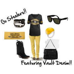 """""""Steelers"""" not a big football fan, but  I know there are a few on here... this is cute (except the boots)..."""
