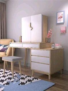 Bedroom Closet Design, Bedroom Furniture Design, Girl Bedroom Designs, Room Ideas Bedroom, Home Room Design, Home Decor Furniture, Home Decor Bedroom, Home Interior Design, Desk In Bedroom