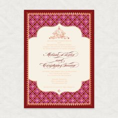 spice affair printable wedding invitation marsala diy invite monogram exotic indian moroccan pattern asian red pink rose gold ornate design by idoityourself on Etsy https://www.etsy.com/listing/214440710/spice-affair-printable-wedding