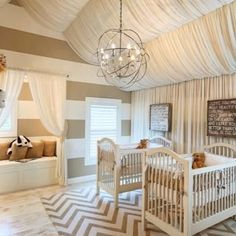 Wowww. Love the fabric hanging from the ceiling!