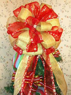 Huge Red & Gold Polka Dot Wreath or Christmas Tree Topper Bow on Etsy, $25.00