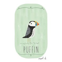 Puffin art print  6x4 painting  Available in pink door wintersmoke, $10.00