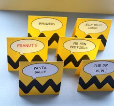 Charlie Brown/Peanuts Food CardsSet of 6 by PartyShopCreations, $8.00