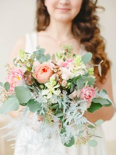 Pink and green bridal bouquet | Anastasia Bryukhanova