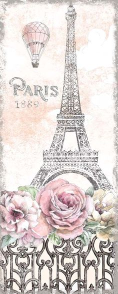 Beth Grove Poster Print Wall Art Print entitled Paris Roses Panel Viii, None Eiffel Tower Painting, Eiffel Tower Art, Paris Background, Theme Background, Paris Images, Paris Pictures, Paris Drawing, Paris Canvas, Paris Poster