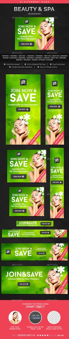 Beauty & Spa Banners Ads Design Template - Banners & Ads Web Template PSD. Download here: https://graphicriver.net/item/beauty-spa-banners/11282173?s_rank=1797&ref=yinkira