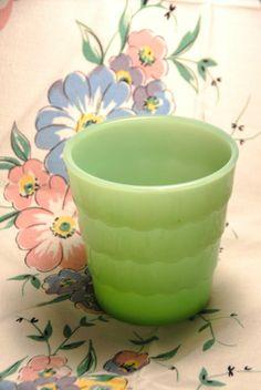 Fire KIng Jadeite Glass Vase or Planter Scalloped Drapery Pattern Anchor Hocking