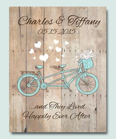 Happily Ever After Poster for Tandem Riding Bikes Cyclist enthusiasts Print ,Wedding 1st Anniversary Gift with Нeart . A great gift for weddings,
